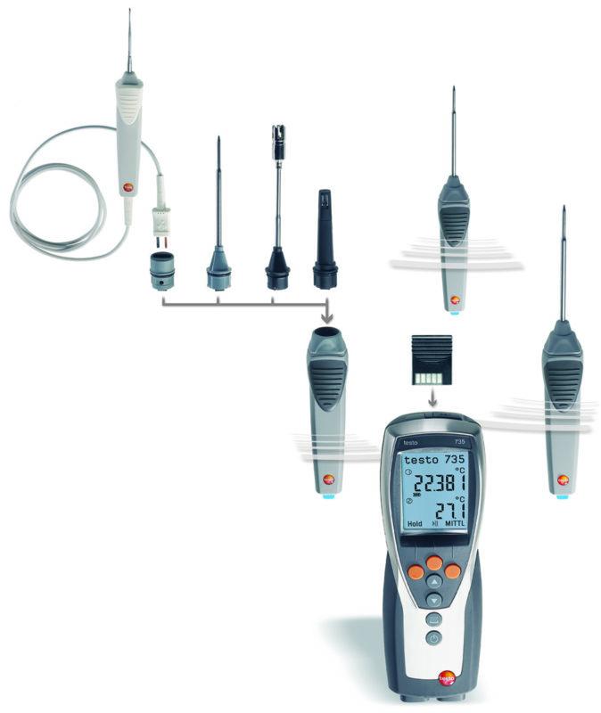 Testo 735 radioprober og radiomodul for temperaturmåling på flere steder