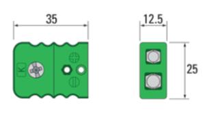 Standard termoelementkontakt type K hun, utført i termoplast
