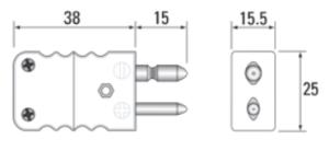 Tegning Standard termoelementkontakt type K han, utført i keramikk