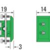 Tegning for mini termoelementkontakt type K hun for panelmontering
