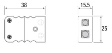 Tegning for standard termoelementkontakt type K hun, utført i keramikk