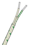 Termoelementtråd type K isolert med høytemperaturglassfiber