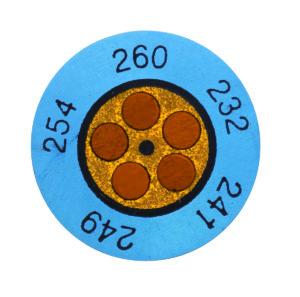 TERMOSTRIPS KLOKKEINDIKATOR +116°C TIL +138°C
