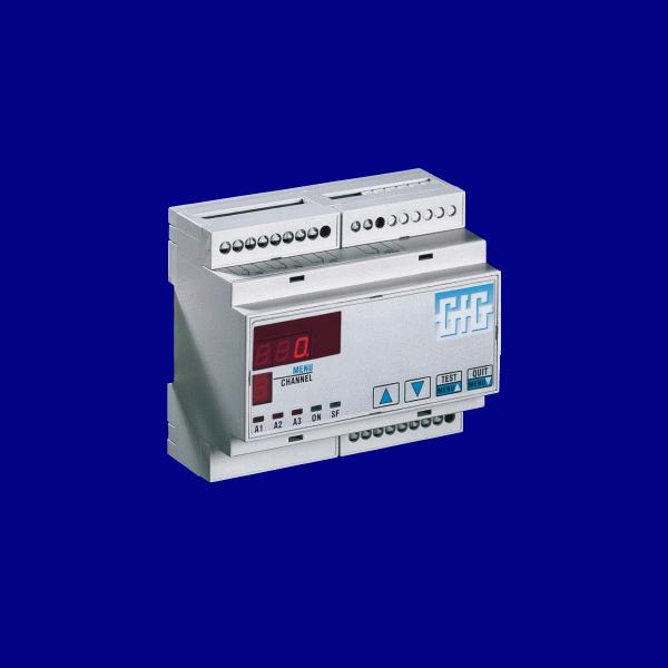 Stasjonært kontrollsystem for 4 transmittere med DIN-skinnemontering - GfG GMA44