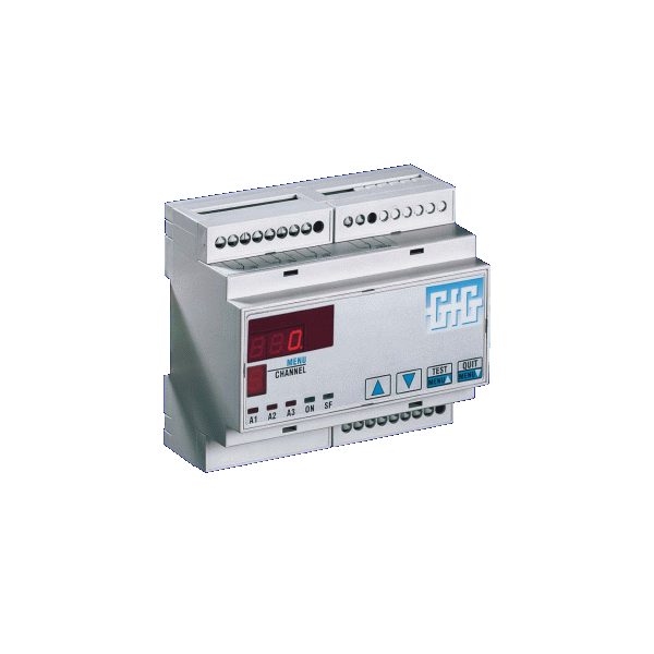 Stasjonært gass kontrollsystem for 3 transmittere med DIN-skinnemontering - GfG GMA43