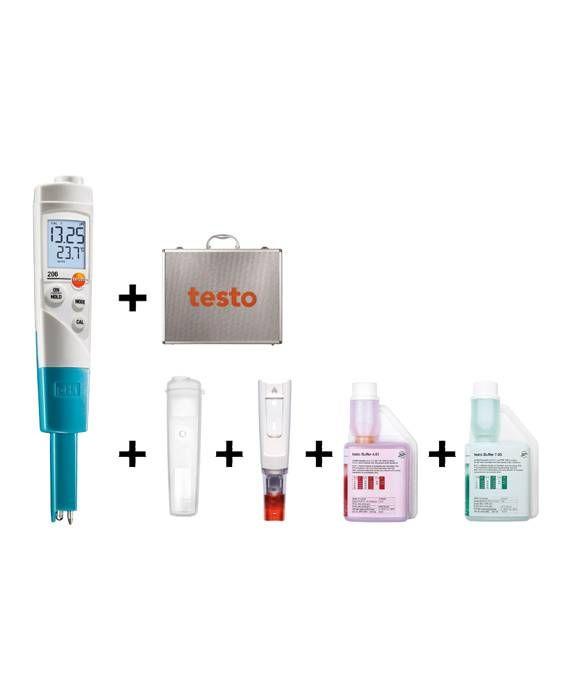pH1-Målersett med koffert 4 og 7 - Testo 206