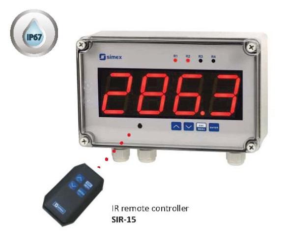 LED-Display med 57mm høye siffer m/IP67