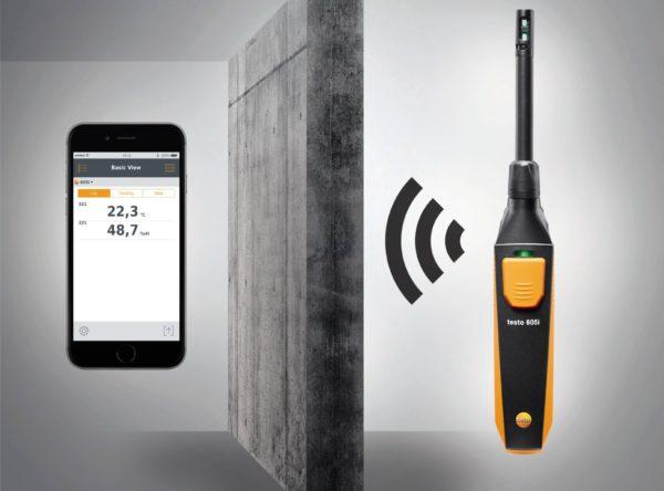 testo 605i Smartprobe fuktmåler virker med din smartphone